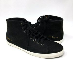 True Religion Black Leather Lace Up Mid Top Shoes